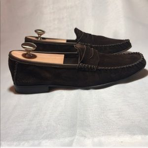 GUCCI Men's Suede Loafer Shoes Dark Brown Size 8D